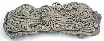WOMAN BELT BUCKLE ANTIQUE COPPER SILVER PLATED FILIGREE EUROPE 19th CENTURY 7