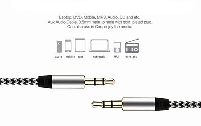 1M - 3.5mm Jack Plug Aux Cable Audio Lead For to Headphone MP3 iPod PC Car GOLD 3