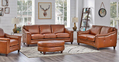 NEW ART DECO Curved Sofa Couch Best Top Grain Leather Modern ...