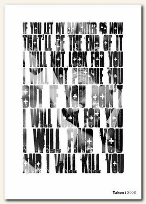 Taken Liam Neeson With Quote Poster