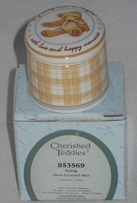 Cherished Teddies Porcelain Trinket Box Teddy Bear Stuffed with Love Oval 853569