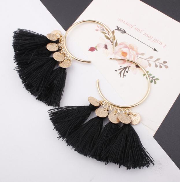 Fashion Bohemian Earrings Women Vintage Long Tassel Fringe Boho Dangle Earrings 8