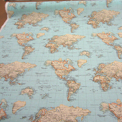 World map globe curtain upholstery dress cotton fabric material 2 of 9 world map globe curtain upholstery dress cotton fabric material 140cm wide blue gumiabroncs Images