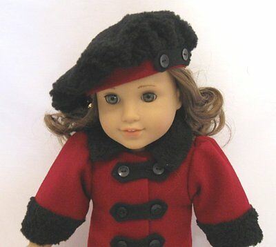"Doll Clothes 18/"" Doll Victorian Coat Hat Burgundy Fit AG Doll Rebecca"