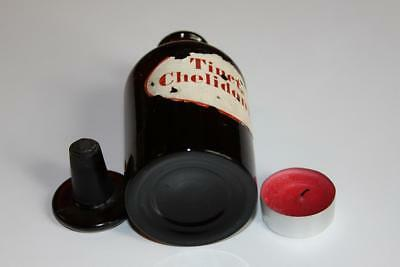 Apothekerflasche, Form selten, rund, alt, TINCT. CHELIDONII SCHLIFF STOPFEN