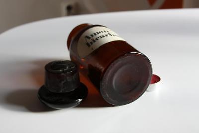 Apothekerflasche, Form selten, rund, alt, AMON. BICARBON. SCHLIFF STOPFEN breite 2