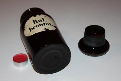 Apothekerflasche, Form selten, rund, alt, KAL. BROMAT. SCHLIFF STOPFEN breiter