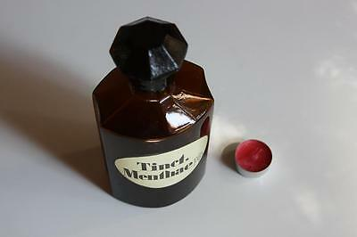 Apothekerflasche, Form selten, TINCT. MENTHAE PIP. rund mit 4 Kanten,alt, grosse