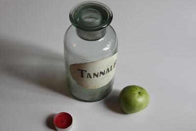 Apothekerflasche, Form selten, rund, alt, TANNALB. SCHLIFF STOPFEN BLASS GRÜNE