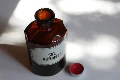 Apothekerflasche, Form selten, SIR. AURANTII rund mit 4 Kanten,alt, grosse