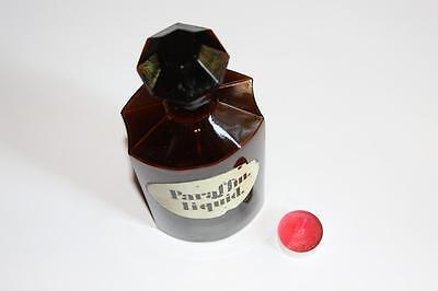 Apothekerflasche, Form selten, PARAFFIN. LIQUID. rund mit 4 Kanten,alt, grosse
