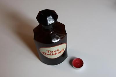 Apothekerflasche, Form selten, TINCT. CHELIDONII rund mit 4 Kanten,alt, grosse