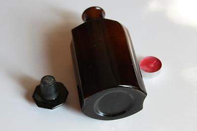 Apothekerflasche, Form selten, TINCT. ADON. VERNAL rund mit 4 Kanten,alt, grosse