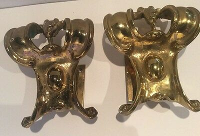 Pair of Antique Solid Brass Architectural Building Fragments