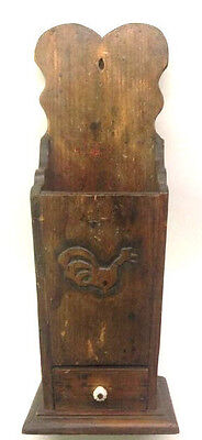 "23"" Primitive Wood Wall Hanging Folk Art Carved Candle Box or Pantry Box AAFA 2"