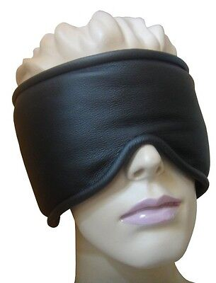 Bondage echt Leder Augenbinde Silikon Füllung extra breit gepolstert schwarz 2