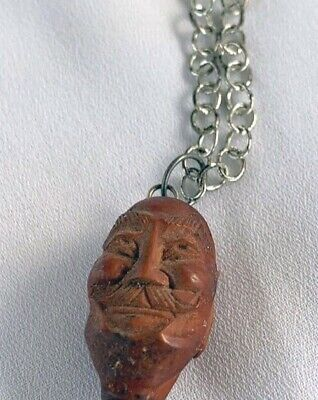 Vintage Chinese Olive Nut Carved Happy Buddha Head Bead Necklace 2