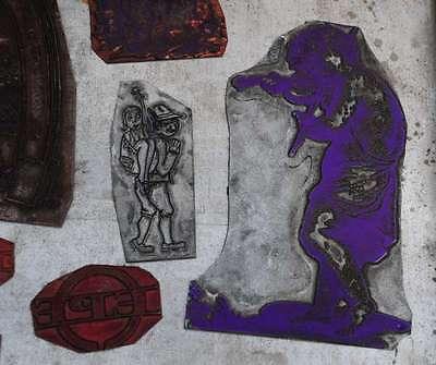 Konvolut Klischees Bleisatz Druckstock Bleiklischee Stempel Vintage Klischee alt 3