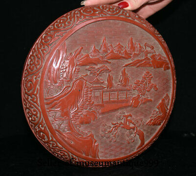 """9.6"""" Marked Old China Red Lacquerware Dynasty Hill River House jewelry Box 7"""