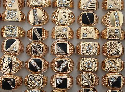 Wholesale mixed Lots 50pcs Crystal rhinestone Men's rose gold plated rings 2