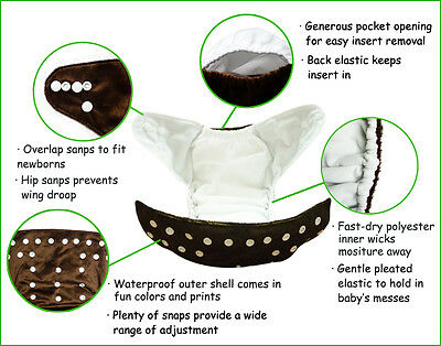 DoDo Bear Reusable Washable One Size Baby Cloth Diapers,Charcoal Bamboo inserts 2
