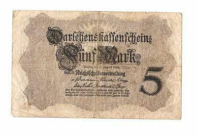 1914 German Empire 5 Mark Banknote Well Circulated