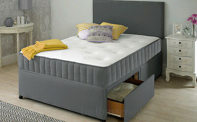 NEW GREY FABRIC DIVAN BED SET + MEMORY MATTRESS + HEADBOARD 3FT 4FT6 Double 5FT 4