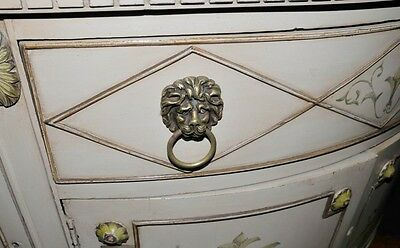 French Louis XV Painted Demi Lune Cabinet Commode Chest 7