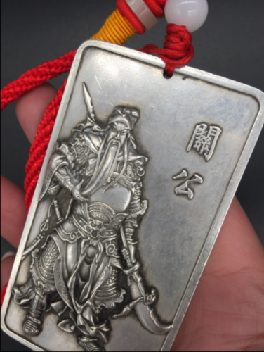 China old  Hand Carved  Tibetan silver  Guan Yu  Amulet Pendants h590 2
