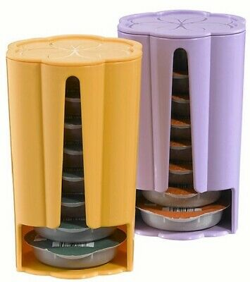 2 x Tassimo Koziol Stack T Disc Pod Holders - Each Holds 8 Discs Yellow & Purple 4