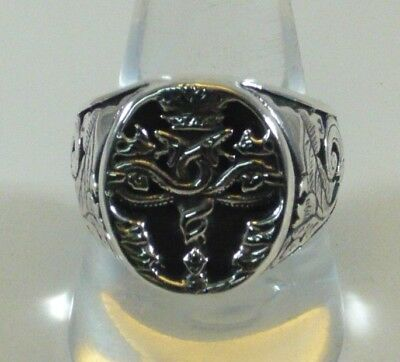 ANELLO CADUCEO ARGENTO 925  CADUCEUS RING IN SOLID STERLING SILVER