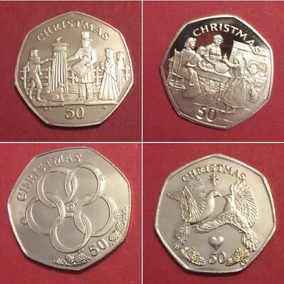 1980 -2016 ISLE OF MAN 50p Christmas coins fifty pence coin including rare coins 3