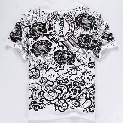 Mens T-Shirt Japanese Pattern Allover Tee Tattoo Gangster Printing Brave Troops