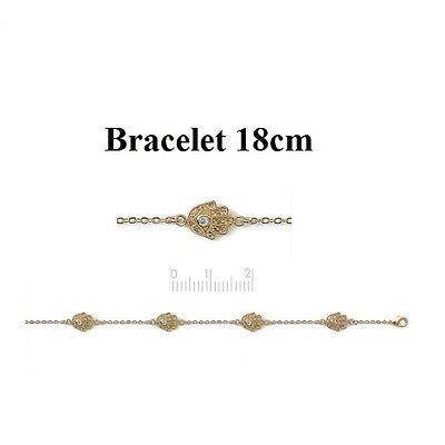 Bracelet Améthyste et Diamant Cz Ovale 19.5 cm Plaqué Or 18K de Dolly-bijoux