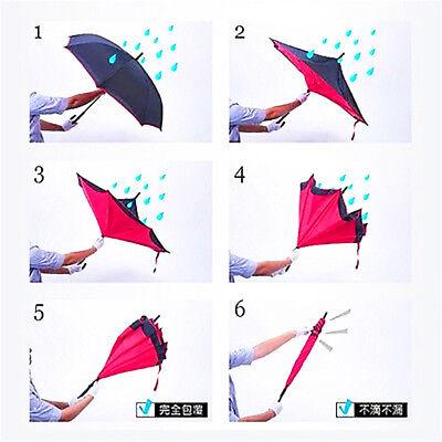 Ombrello  Inverso Reversibile Apertura Al Contrario Rovesciato Anti Pioggia Moda 4