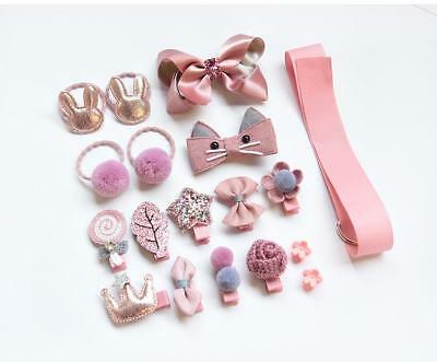 18PCS Baby Girls Head wear Elastic Bow knot Hair Clip Barrette Hairpin Xmas Gift 6