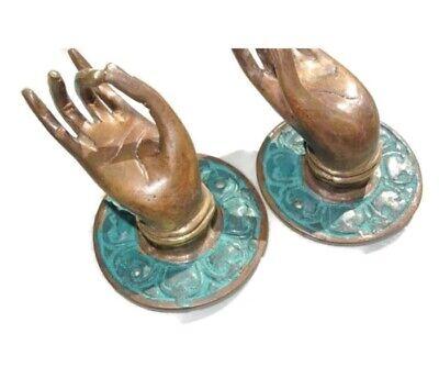 "4 small green handle hand solid brass door old style knob hook 2.1/4 ""buddha B 7"