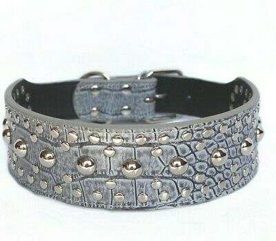 Studded Rivet Spiked Metal Dog PU Faux Leather Collar Pitbull Mastiff BLACK RED 10