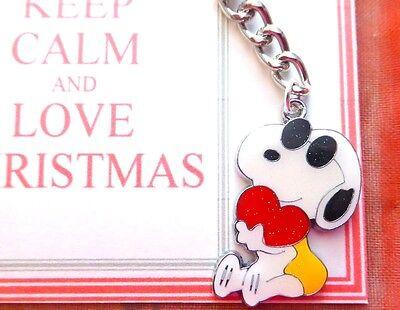 "/""Cool Dude/"" Snoopy Romantic Valentine Enamel Charm Pendant Key-ring Gift Card"
