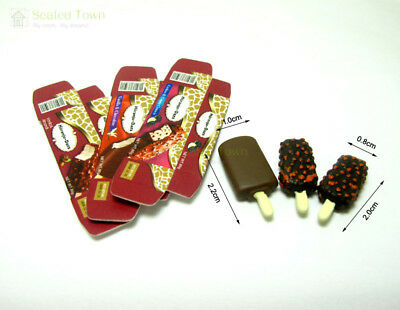 3 Dollhouse Miniature Food Dessert Chocolate Ice cream Sticks 1:12 Fridge Decor 7