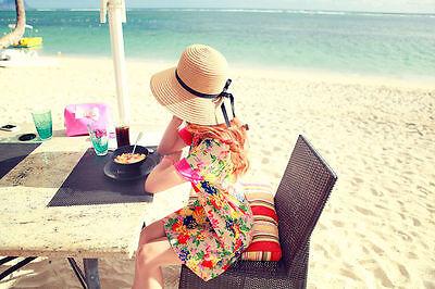 Floppy Foldable Ladies Women Straw Beach Sun Summer Hat Beige Wide Brim SumDLUK 4