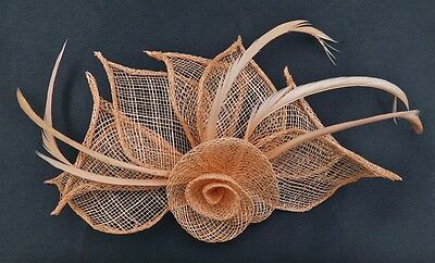 Hessian Net Rose & Feather Fascinator On A Forked Clip And Brooch Pin 5