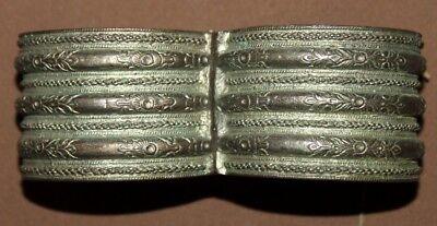 Antique Greek Folk ornate floral Silver Hinged Bracelet 11