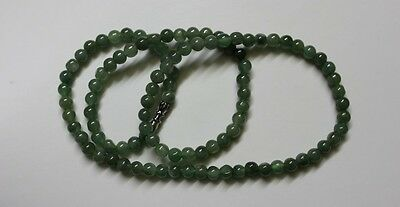 "Genuine 100% Natural Type A Jadeite JADE Beautiful Oily Green Necklace 5.2mm 19"" 5"