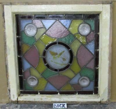 "OLD ENGLISH LEADED STAINED GLASS WINDOW Hand-Painted Victorian 22"" x 21.75"" 3"