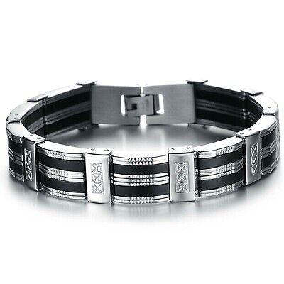 42b6daf31f823 1 sur 2Livraison gratuite Bracelet homme façon argent et cuir gourmette bijou  homme acier mode sport