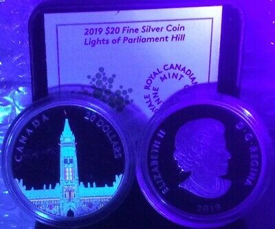2019 Northern Lights Parliament Hill Glow-Dark $20 1OZ Silver Proof Coin Canada 4