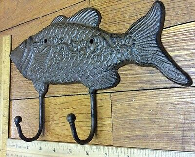 Large 10-3/4 FISH COAT HOOK Cast Iron Rustic Antique Vintage Style Wall Hat Rack 7