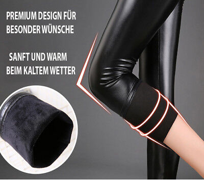 Leder Optik Leggings Thermo Stretch Hose Damen High waist Schwarz Hose lang 2
