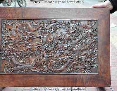 old chinese huanghuali wood carved dragon beast foo dog lion desk Tea table A 7